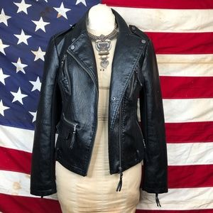 BNCI Blanc Noir Vegan Leather Moto Jacket